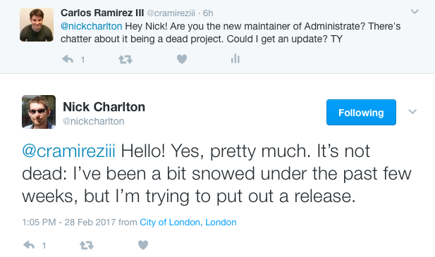 Administrate Project Status Tweet
